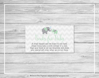 Elephant Baby Shower Book Instead of Card Insert - Printable Baby Shower Books for Baby - Green and Gray Elephant Baby Shower - SP104