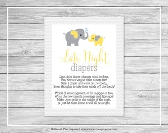 Elephant Baby Shower Late Night Diapers Sign - Printable Baby Shower Late Night Diapers - Yellow and Gray Elephant Baby Shower - SP103
