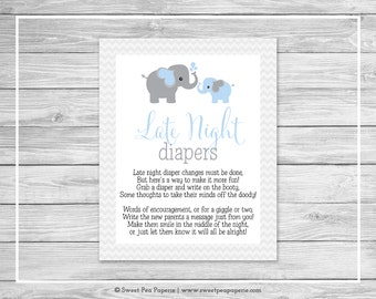 Elephant Baby Shower Late Night Diapers Sign - Printable Baby Shower Late Night Diapers - Blue and Gray Elephant Baby Shower - SP102