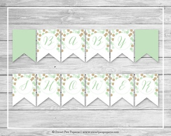 Mint and Gold Baby Shower Banner - Printable Baby Shower Banner - Mint and Gold Glitter Baby Shower - Baby Shower Banner - EDITABLE - SP108