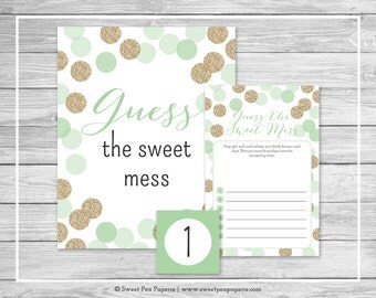 Mint and Gold Baby Shower Guess The Mess Game - Printable Baby Shower Guess The Sweet Mess Game - Mint and Gold Baby Shower - SP108