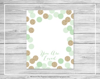 Mint and Gold Baby Shower Guest Book - Printable Baby Shower Guest Book - Mint and Gold Glitter Baby Shower - Baby Shower Guest Book - SP108