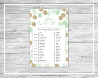 Mint and Gold Baby Shower How Sweet It Is Game - Printable Baby Shower How Sweet It Is Game - Mint and Gold Glitter Baby Shower - SP108