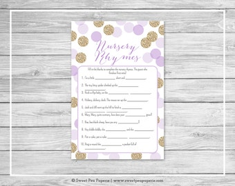 Purple and Gold Baby Shower Nursery Rhyme Game - Printable Baby Shower Nursery Rhyme Game - Purple and Gold Glitter Baby Shower - SP109