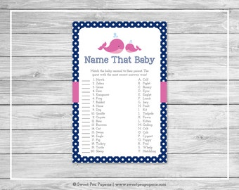 Whale Baby Shower Name That Baby Game - Printable Baby Shower Name That Baby Game - Pink Whale Baby Shower - Name That Baby Game - SP128