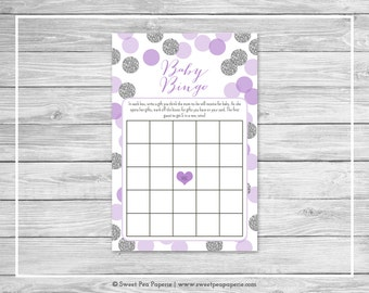 Purple and Silver Baby Shower Baby Bingo Game - Printable Baby Shower Baby Bingo Game - Purple Silver Baby Shower - Baby Bingo Game - SP126