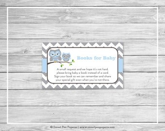 Owl Baby Shower Book Instead of Card Insert - Printable Baby Shower Books for Baby - Blue Owl Baby Shower - Books for Baby - Owl Baby- SP135