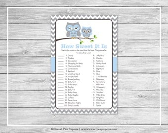 Owl Baby Shower How Sweet It Is Game - Printable Baby Shower How Sweet It Is Game - Blue Owl Baby Shower - How Sweet Shower Game - SP135