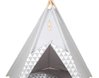 Teepee SET: teepee with 5 poles, rounded mat and 2 douvet covers Kids tents, Wigwam, Zelt, Tent, Playtent, white/grey s