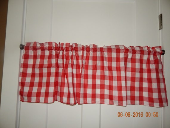 Red And White Gingham Buffalo Check Large By Curtainsbychandra