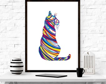 Cat ,wall art, home decor ,minimalism, graphic design , abstract, gift idea,