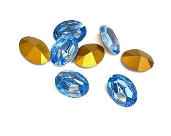 3 Pieces Swarovski Article #4100 Light Sapphire, Vintage, 18x13mm Oval