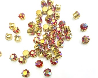 24 Pieces Hyacinth AB Pre - Set Swarovski Crystal Stones, Raw Brass Tiffany Style Setting, 19ss (5mm ) Round
