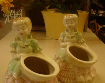 Set of 2 Ladies with Baskets, Closed Eyes, Planters