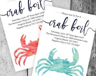 Crab Boil Invitation | Printable Crab Boil Invite, DIY Summer Party Invitation, Seafood Boil, Engagement, Birthday, Graduation, Rehearsal