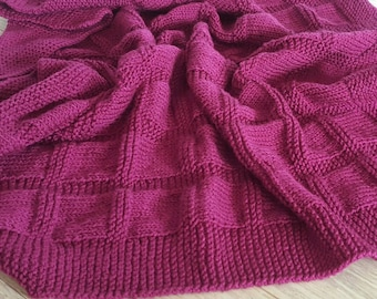 Knitted Baby Blanket, Square Pattern, Hand Knitted, Mauve Yarn, Baby Girl