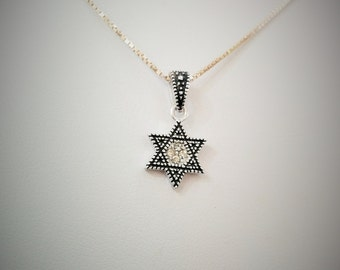 star of david necklace sterling silver with svarovsky crystals water proof