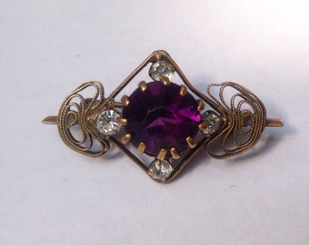 Antique, Edwardian amethyst paste brooch.