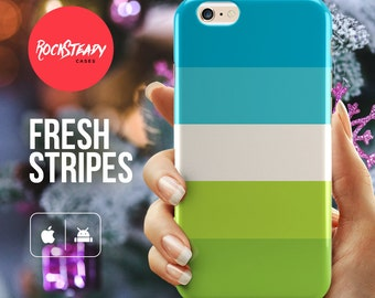 Blue and Green iPhone 7 case, iPhone 6 Plus case, iPhone 5C Case stripes, stripey phone case, Samsung galaxy s7, s6 s5 case