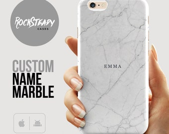 White Marble iPhone 6s case, Custom iPhone 7 case, iPhone 7 Plus case, samsung Galaxy s7, s6, S5 case, iPhone 5s, 5C, Personalized Name gift