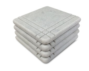 Craftsman Style Marble Coasters – White Carrara Marble Stone Coasters with Cork Backing Set of 4, Design A