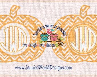 Chevron Pumpkin Monogram Bundle  - SVG/DXF/PNG - Cut - studio - Cricut, Studio, Printable File, halloween, fall, thanksgiving