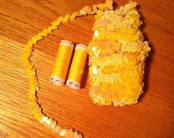 Yellow Elastic Sequin Trim - 9 meters