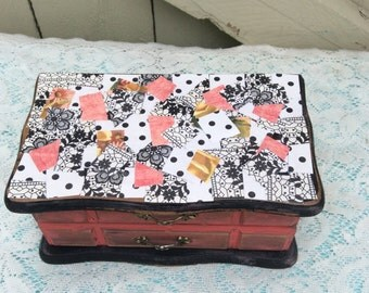 Shabby Chic Jewelry Box Black/Watermelon Funky Decopaged Finish