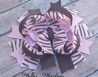 Pink and brown zerbra hairbow-Pink zebra hairbow-Brown zebra bow-Simple stacked bow-Girls hairbow-Cute zebra hair bow.