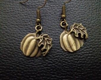 pumpkin bronze dangle earrings-pumpkin earrings -pumpkin jewelry