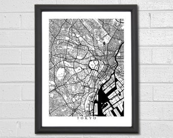 Tokyo Map Art - Map Print - Black and White Print - Japan - Personalized - Travel Gift - Housewarming Birthday Engagement
