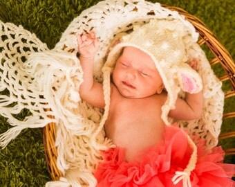 Newborn baby sheep bonnet Lamb hat Knitted sheep hat Baby animal hat Newborn sheep outfit Crochet sheep Photo prop hat Baby boy girl bonnet