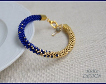 Bead Crochet Bracelet Knot Rope Dark Blue & Gold author project