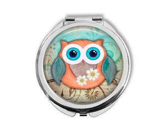 Owl Pocket Mirror, Compact Mirror, Purse Mirror, Pocket Mirror, Owl Mirror, Owl Gift