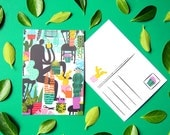 Cactus card A6 - greeting card / postcard - digital print - illustrated postcard - postcard cactus - cactus postcard - cactus greeting card