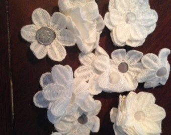 34 Daisies White Satin Flower Appliques.  Free Shipping too