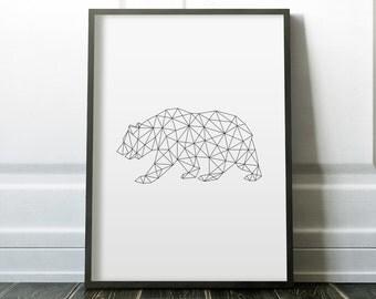Geometric Bear, Instant Download, Printable, Geometric Print, Bear Print, Woodland Animal, Black And White, Bear Art, Geometric Animal Print