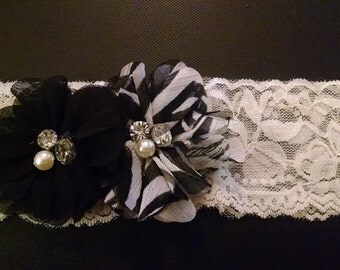 Zebra Flowered Baby Headband