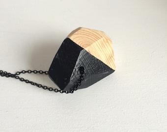 Geometric wooden pendant - Black 016