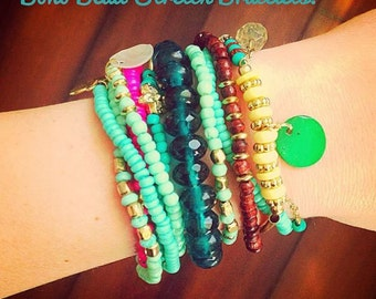 Boho Bead Stretch Bracelets, set of 10