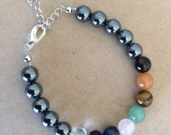 Chakra Bracelet - gemstone beads, adjustable chain, 7 chakras, healing jewellery