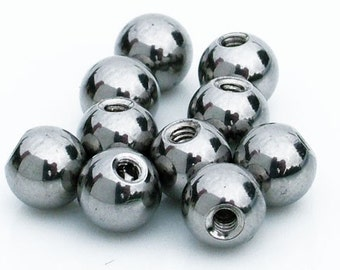 5 x Spare Replacement Balls For Tongue Bars and Belly Bars 14 Gauge Thread, Surgical Steel