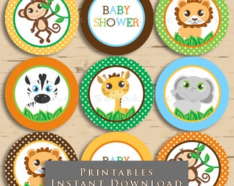 Printable Jungle Safari Cupcake Toppers Party Printables Animals DIY Printable INSTANT DOWNLOAD JS001