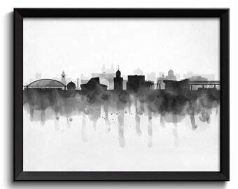 Novosibirsk Skyline Russia Cityscape Art Print Poster Black White Grey Watercolor Painting Landscape Home Decor Wall Art