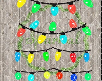 Christmas String of Lights SVG Cutting File Tree Lights for Cutting Machines Light Swags Colored Christmas Lights Twinkling Lights Cut files