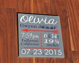 Wooden Birth Announcement Board With Arrow and Polka Dots