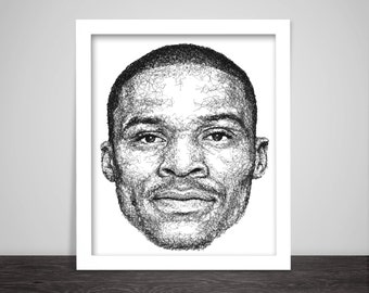 Scribbled Russell Westbrook - Poster