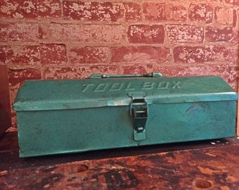 60's Rusty Metal Toolbox Teal Industrial Decor