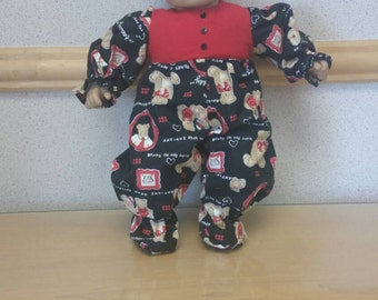 Bitty Baby handmade black and red teddy bear sleeper
