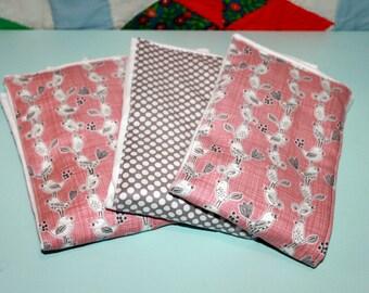 Pink Bird Burp Cloths - Set of Three